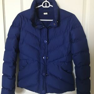 J. Crew Blue Puffer Coat Extra Small